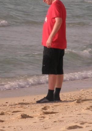 Ponožky na pláži